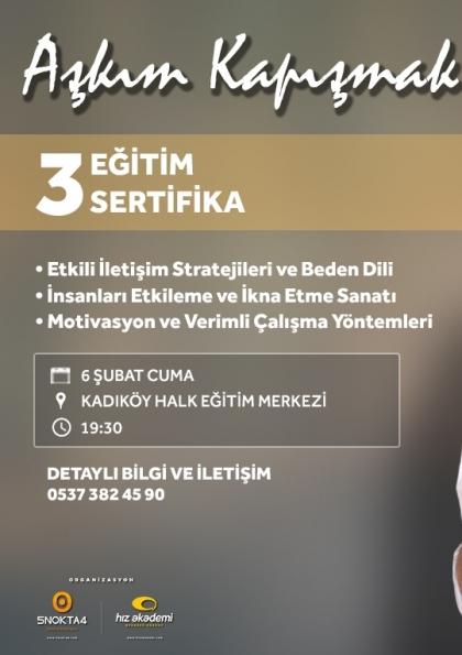 Aşkım Kapışmak ile 3 Eğitim 3 Sertifika - İstanbul Etkinlik Afişi