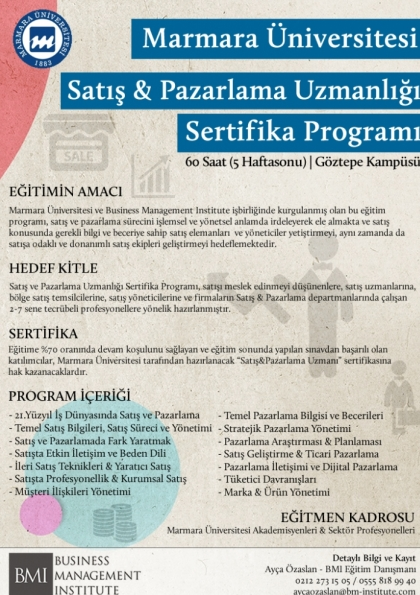 Marmara Üniversitesi - Satış & Pazarlama Uzmanlığı Sertifika Programı Etkinlik Afişi