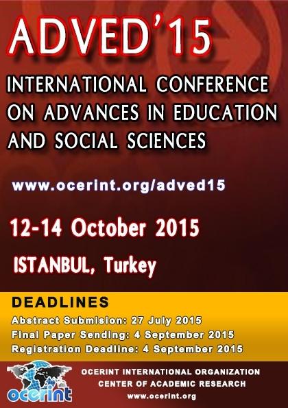 ADVED'15- International Conference On Advances In Education, And Social Sciences Etkinlik Afişi