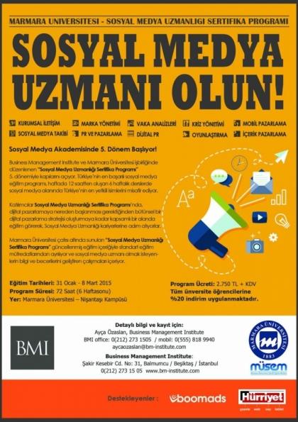 Marmara Üniversitesi - Sosyal Medya Uzmanlığı Sertifika Programı Etkinlik Afişi