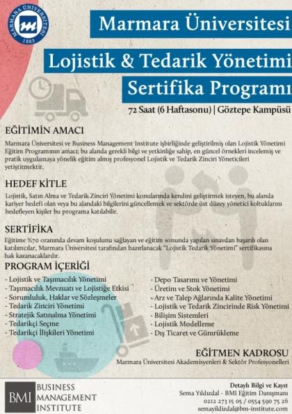 Marmara Üniversitesi - Lojistik ve Tedarik Zinciri Yönetimi Sertifika Programı Etkinlik Afişi