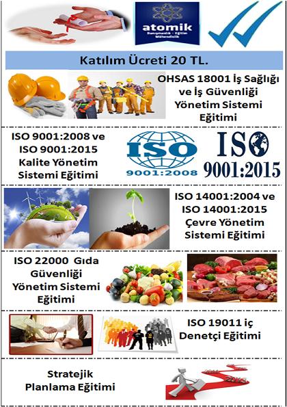 ISO Yönetim Sistemleri Eğitimi 8 Sertifika (5 ad. başarı ve 3 ad. katılım sertifikası) Bursa