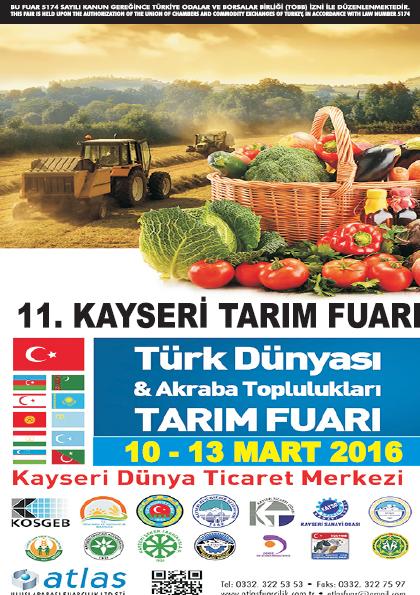 Kayseri Tarım ve Hayvancılık Fuarı 2016 10 - 13 Mart 2016 Afişi