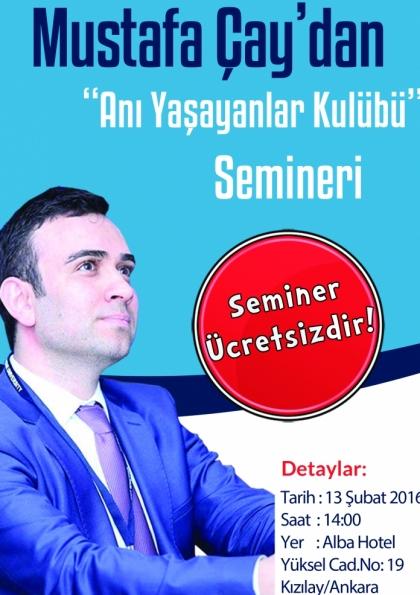 """Ücretsiz """"Anı Yaşayanlar Kulübü"""" Semineri Afişi"""