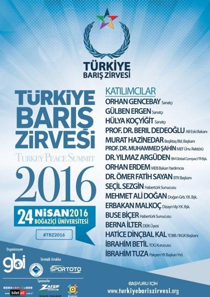 Türkiye Barış Zirvesi 2016 Etkinlik Afişi