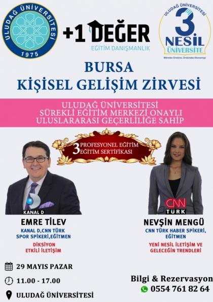 Bursa Kişisel Gelişim Zirvesi Uludağ Üniversitesi Onaylı 3 Sertifika Afişi