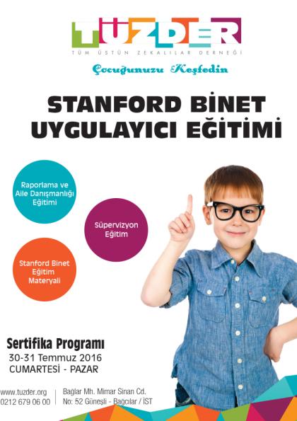 Stanford Binet Zeka Testi Uygulayıcı Eğitimi Etkinlik Afişi
