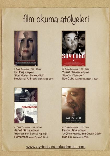 Film Okuma Atölyeleri Etkinlik Afişi