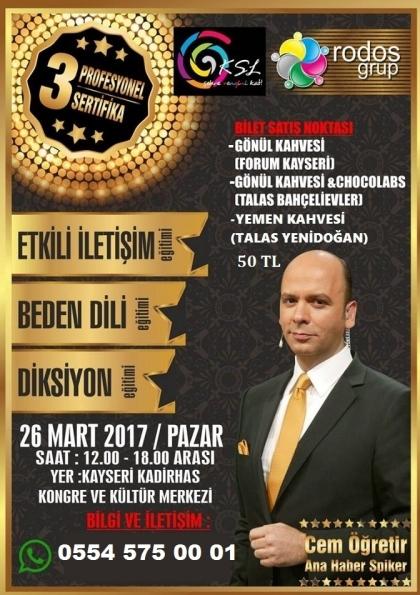 Cem Öğretir ile 3 Sertifikali İletişim Eğitimi @Kayseri Afişi