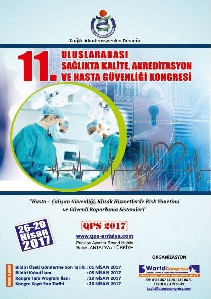 11. Uluslararası Sağlıkta Kalite Akreditasyon ve Hasta Güvenliği Kongresi Afişi