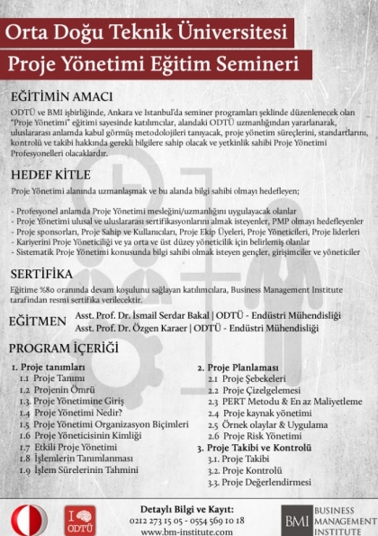 Orta Doğu Teknik Üniversitesi - Proje Yönetimi Seminer Programı Afişi