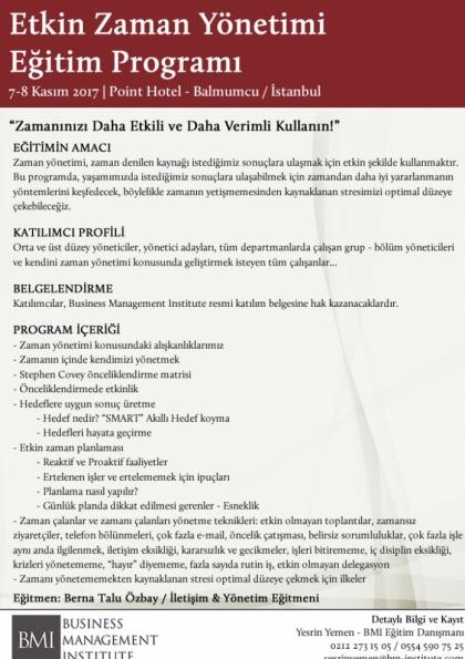 Etkin Zaman Yönetimi Eğitim Programı | Business Management Institute Afişi