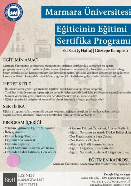 Marmara Üniversitesi - Eğiticinin Eğitimi Sertifika Programı Etkinlik Afişi