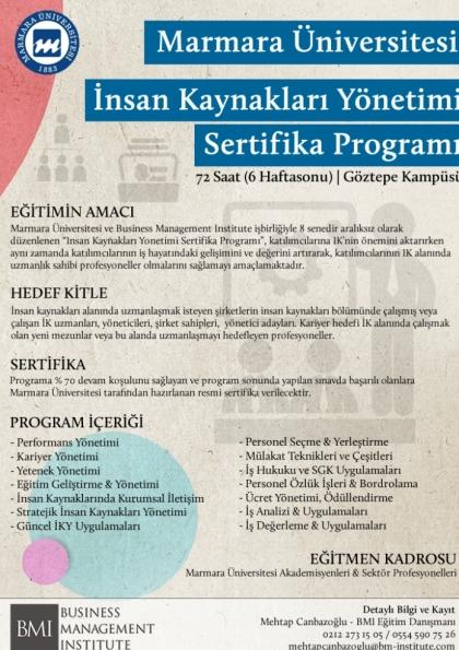 Marmara Üniversitesi - İnsan Kaynakları Yönetimi Sertifika Programı Afişi