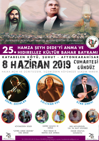 25. Hamza Şeyh Dede'yi Anma ve Hıdırellez Kültür Bahar Bayramı Etkinlik Afişi