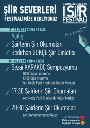 2. Kahramanmaraş Şiir Festivali Etkinlik Afişi