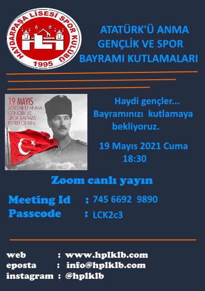 19 Mayıs Atatürk'ü Anma, Gençlik ve Spor Bayramı kutlamaları Afişi