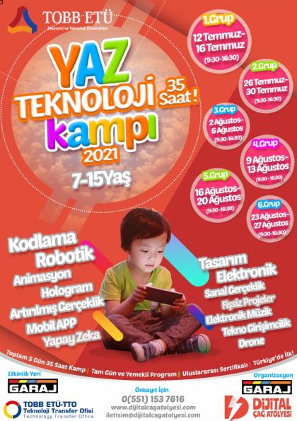 Yaz Teknoloji Kampı 2021   TOBB Ekonomi ve Teknoloji Üniversitesi (7-15 Yaş) Etkinlik Afişi