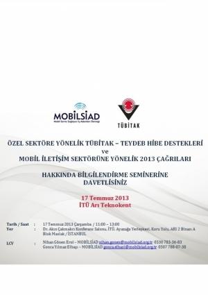 Mobil İletişim Teknolojilerine Yönelik TÜBİTAK-TEYDEB Destekleri Etkinlik Afişi