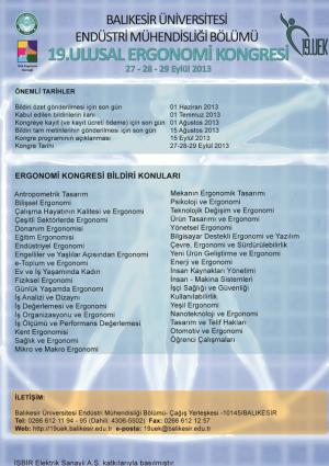 19. Ulusal Ergonomi Kongresi Etkinlik Afişi