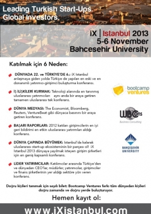 "Bootcamp Ventures ""Innovation Xchange"" iX Istanbul 2013 Konferansı Etkinlik Afişi"
