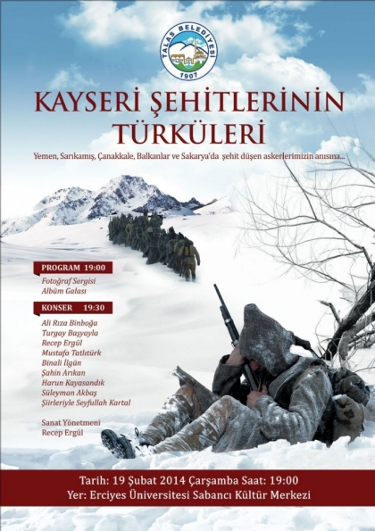 Kayseri Şehitlerinin Türküleri Etkinlik Afişi