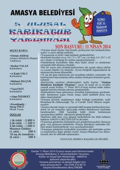 Amasya Belediyesi 5. Ulusal Karikatür Yarışması Etkinlik Afişi