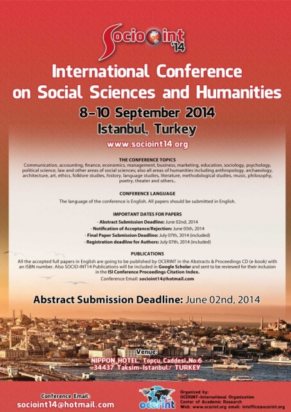 Socio-Int14- International Conference On Social Sciences And Humanities Etkinlik Afişi