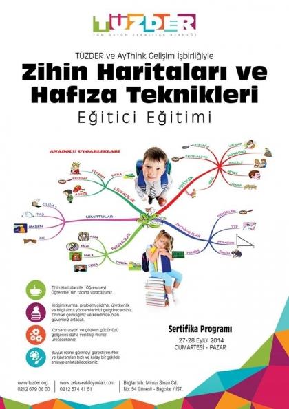 TÜZDER Zihin Haritaları ve Hafıza Teknikleri Eğitici Eğitimi Etkinlik Afişi